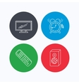 TV remote alarm clock and sound icons vector image