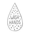 water drop with wash hands vector image vector image