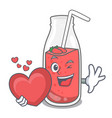 with heart strawberry smoothie mascot cartoon vector image