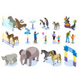 zoo isometric icon set vector image