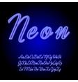 Neon tube hand drawn alphabet font vector image