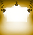 Wall with picture spotlight light spot frame vector image