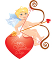 Cute angel with arrow and bow sitting on red heart vector image