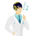 asian doctor listening to music in headphones vector image vector image
