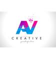 av a v letter logo with shattered broken blue vector image vector image