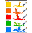 basic colors set with cartoon animals vector image vector image