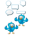 Blue Bird Giving Two Thumbs Up vector image vector image