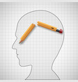 broken pencil in the human head nervous tension vector image vector image