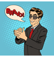 Businessman Applauds Bubble Expression Bravo vector image vector image