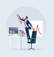 businessman creating growing stock chart vector image