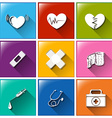 Buttons with the different medical materials vector image vector image