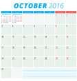 Calendar 2016 flat design template October Week vector image vector image