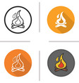 Campfire flat design linear and color icons set vector image