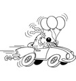 Cartoon dog in an automobile vector image vector image