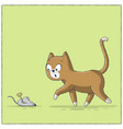cat finds toy mouse vector image