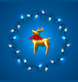 christmas golden reindeer on garland blue vector image vector image