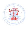 christmas logo phrase happy boxes vector image