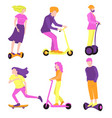 collection people on eco-friendly vehicles in vector image