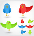 colorful cartoon birds collection vector image