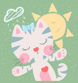 cute funny cat weather vector image vector image