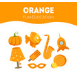 different objects in orange color fun educational vector image