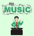 disc jockey with music icons on green background vector image