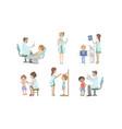 doctors doing medical examination kids set vector image