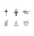 egypt religion ancient symbols set black vector image