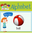 Flashcard letter B is for ball