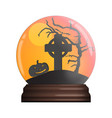 glass bowl with halloween scene vector image