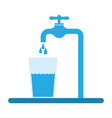 glass filled with drinking water from tap vector image vector image