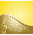 golden background - curved music notes vector image vector image