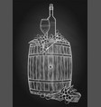 graphic glass of wine bottle and grapes vector image