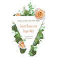 greeting card with roses waxy flowers and vector image vector image