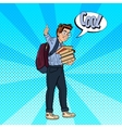 Happy Schoolboy with Backpack and Books vector image