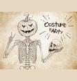 human skeleton with halloween pumpkin head vector image