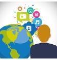 man world communication bubble speech social media vector image