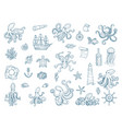 marine octopus nautical set wild vector image
