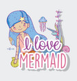 mermaid woman with plants leaves and jellyfish vector image vector image
