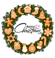 merry christmas lettering in center of wreath with vector image