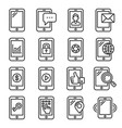 mobile phone icons set on white background line vector image vector image