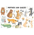mothers and babies animals collection vector image
