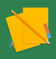 orange realistic pencil lies with rubber and vector image vector image