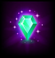 pear green emerald shining gemstone with magical vector image vector image