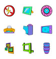 photo equipment icons set cartoon style vector image
