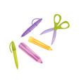 school supplies pen pencil scissors school vector image