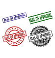 scratched textured seal of approval seal stamps vector image