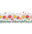 seamless border doodle flowers bees and ants vector image vector image