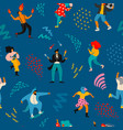 seamless pattern with funny dancing men and vector image