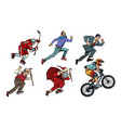 set collection hockey man cyclist businessman vector image vector image
